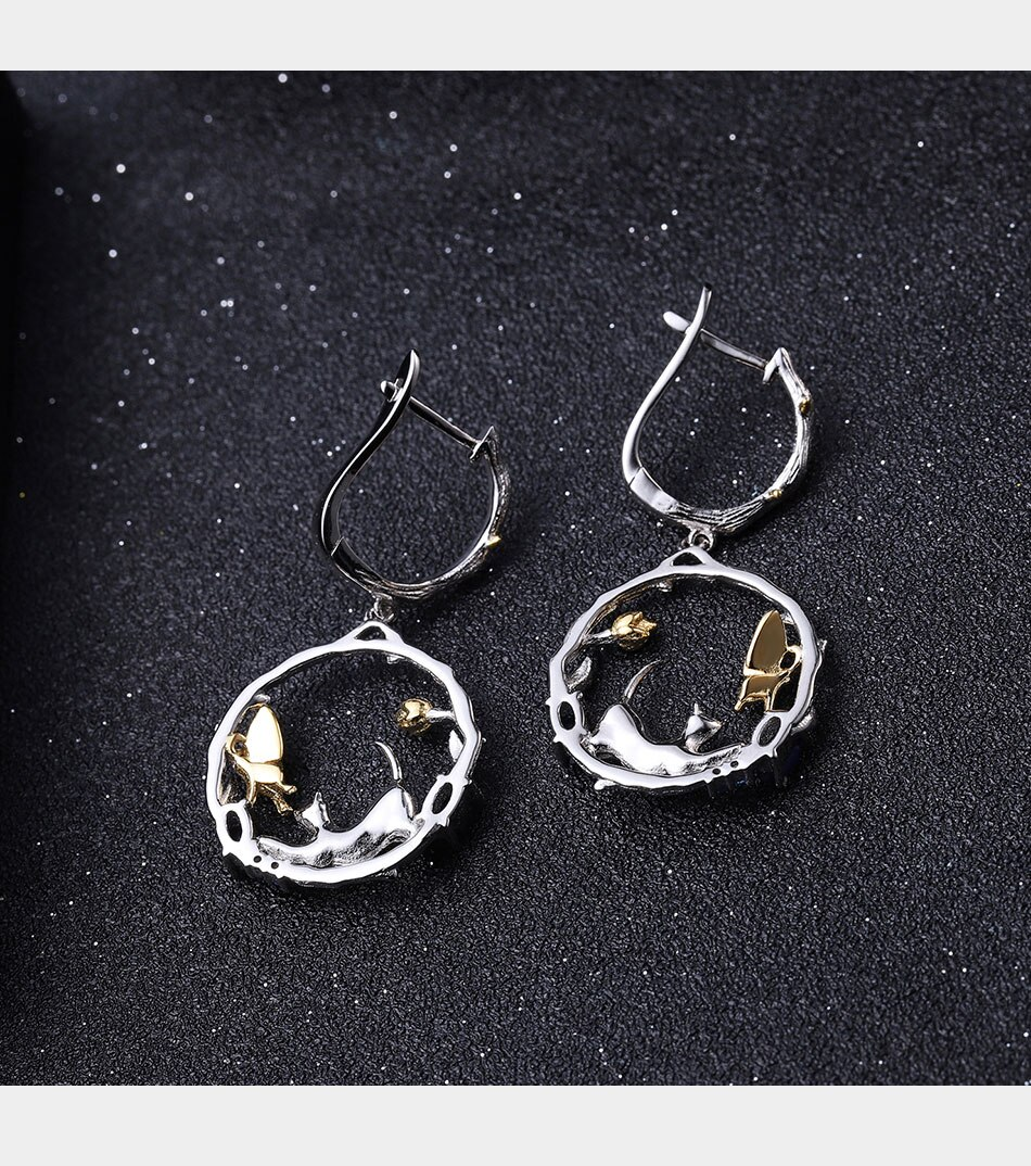 Natural Blue Sapphire Silver Cat and Butterfly Earrings