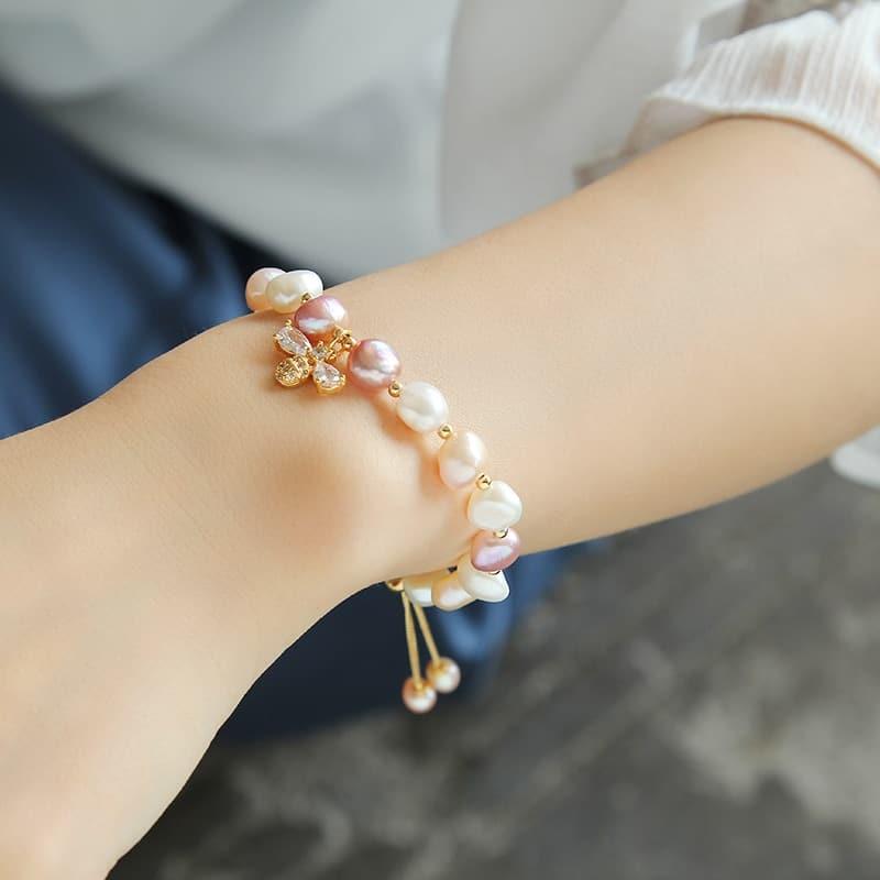 natural freshwater pearl and honeybee crystal bracelet