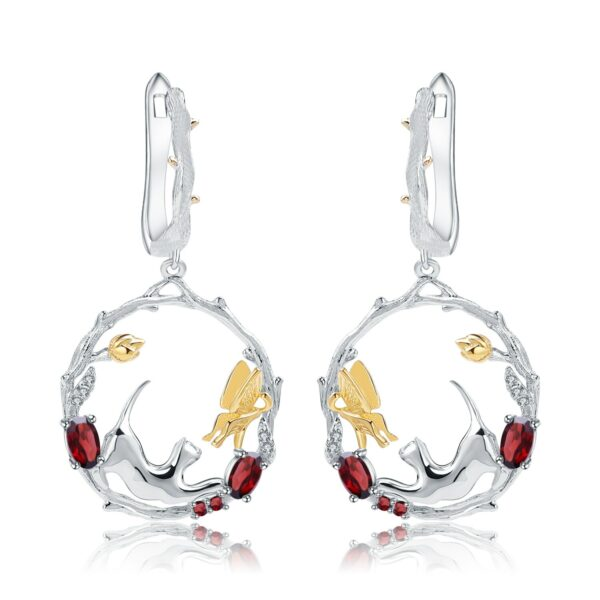 Stunning Garnet Silver Cat And Butterfly Set