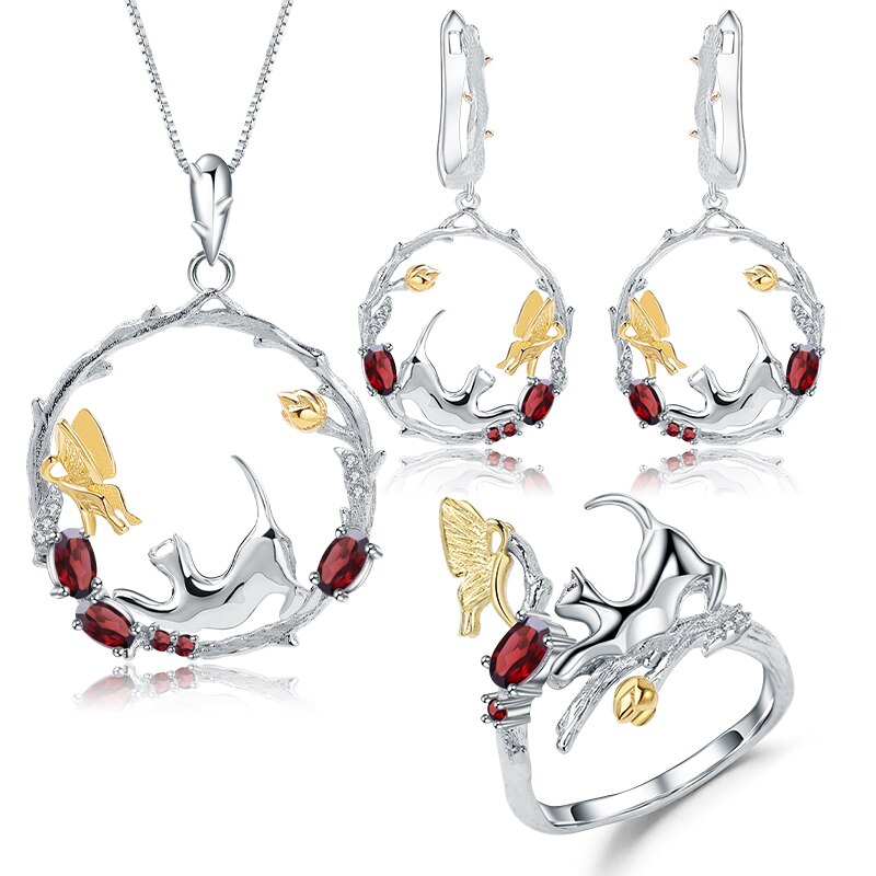 Natural Garnet Silver Cat and Butterfly Set