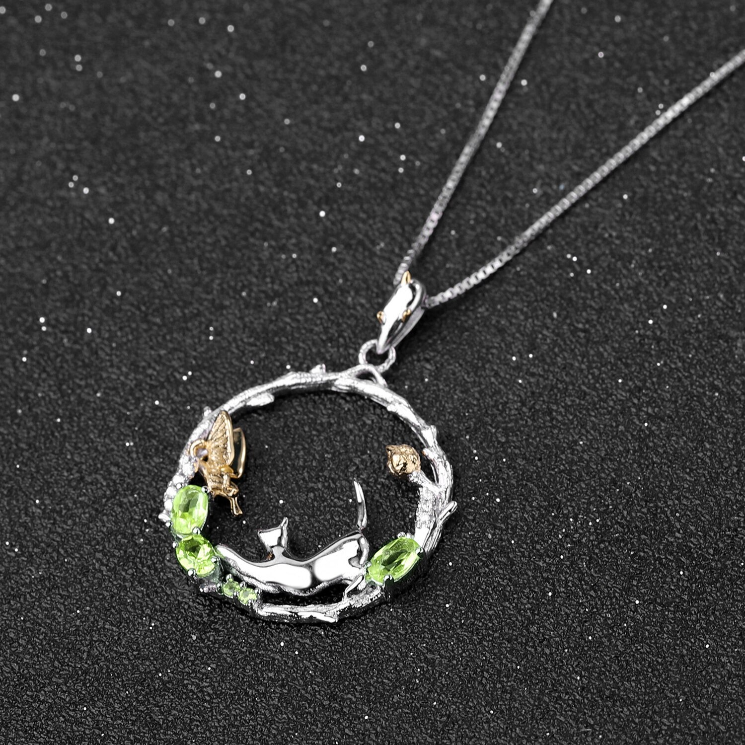 Peridot Silver Cat And Butterfly Set