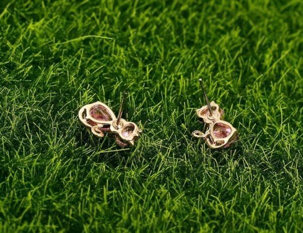 crystal cat earrings