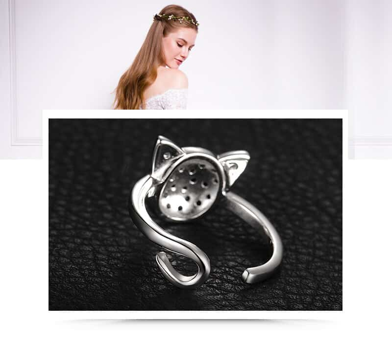 Genuine Black Spinel and Cubic Zirconia Sterling Silver Cat Ring