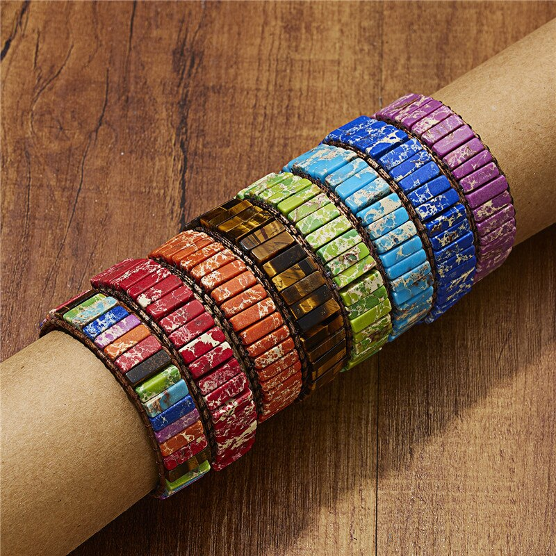 chakra bracelet jewelry handmade multi color natural stone tube beads leather wrap couples bracelets creative gifts dropshipping