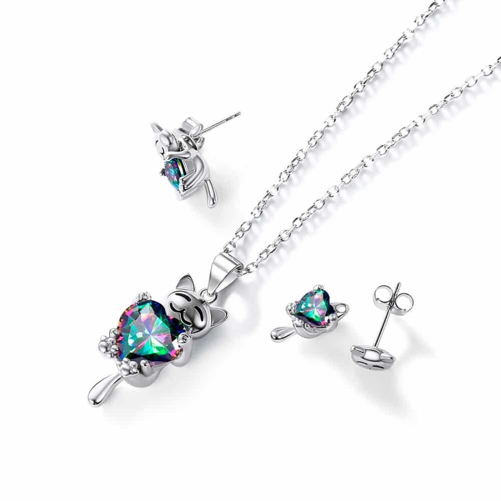 Mystery Topaz Cute Cat Design Women's Jewelry Set