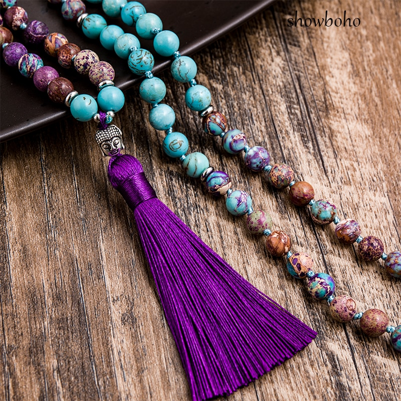 natural turquoise and imperal jasper mala necklace