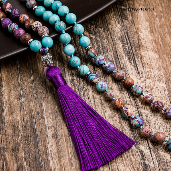 natural turquoise and imperial jasper mala necklace