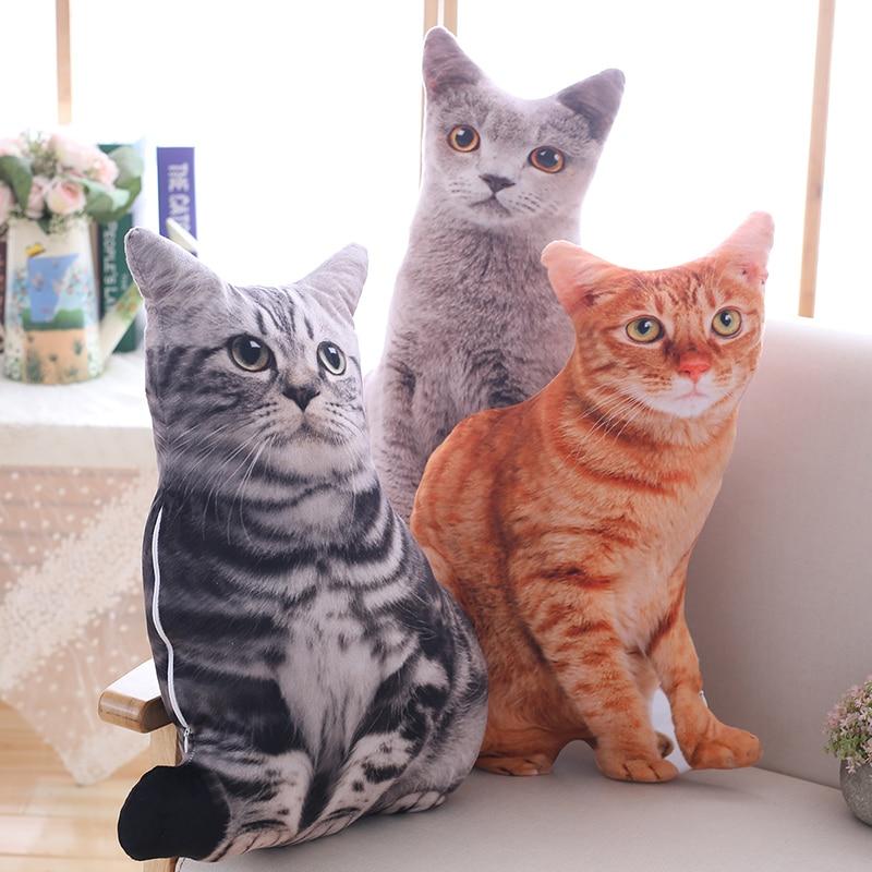 plush cat toys simulation stuffed animal soft doll lifelike cat plush pillow orange cat cushion toys for children kids gift