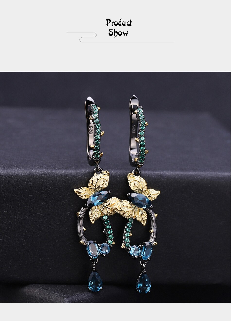 butterfly blue topaz earrings